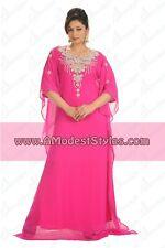 Pink DUBAI ABAYA KAFTAN Hijab Muslim Islam Wedding Dress *USA SELLER* MDfhs18