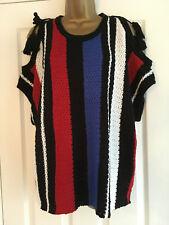 BNWT NEXT Ladies Black Red Blue Cold Shoulder Tassel Sweater Jumper Size L Large