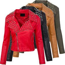 Veste en similicuir pour femme rivets biker LOOK simili-cuir BLOUSON MOTARD