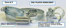 PK del 5 JOLLY Worm Drive Tubo Clip / MORSETTI ZINCATI Taglie 9.5-12mm - 30-40mm
