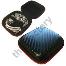 Earphone Zip Storage Pouch Case Bag Carbon Fibre Look Portable Case Box Headset