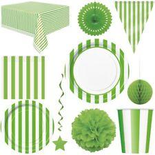 Verde Rayas Decoración De Fiesta Vajilla Desechable Cumpleaños Niños