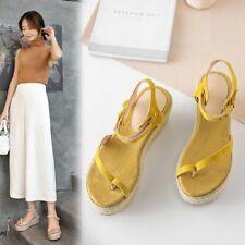 Women Slingbacks Platform Wedge Heel Sandals Flip Flops Ankle Strap Casual Shoes