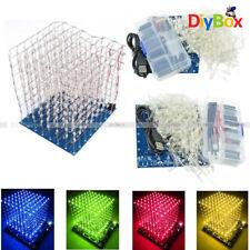 3D LED LightSquared DIY Kit 8x8x8 3mm LED Cube White LED Blue/Green/Red/Yellow
