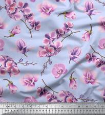 Soimoi Fabric Orchid Floral Print Fabric by Yard - FL-849E