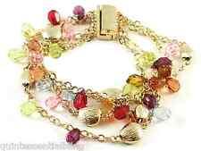 gp4 Multi Gold Plate Chain & MultiColor Briolette Bracelet Fancy Magnetic Clasp