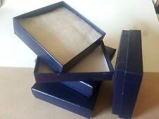"Blue Cotton Filled Box 3 1/2"" x 3 1/2"" x 1"" Jewelry Display Gift BOX Free Ship"