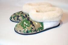 Russian Fur Slippers   100% Natural Sheepskin   Winter   Wool Socks   Khaki