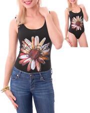 Sexy Black Embellished Flower Rhinestone Believe Love Bodysuit top Boho Hippie