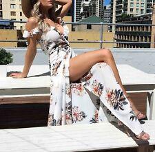 Vestito Donna Abito Lungo con Spacco Woman Maxi Dress Flower Print 110272 P