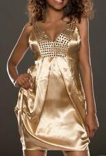 SeXy Miss Damen Glitzer Nieten Satin Mini Kleid Girly Trend Dress 34/36/38 gold