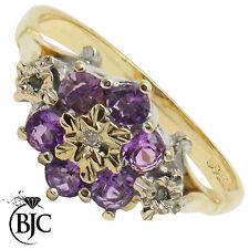 BJC 9 ct Oro amarillo Amatista & Diamante Margaritas Racimo anillo de compromiso