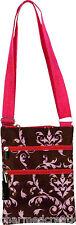 Damask Print Cross Body Purse Shoulder Passport Sling Messenger Bag Pink & Brown