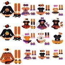 Newborn Baby Girl 4Pcs Pumpkin Romper Tutu Skirt Headband Shoes Outfit Halloween