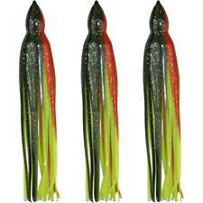 "5.5"" to 8.5"" Octopus Squid Replacement Skirt - Dark Green & Orange - 3 Pack"
