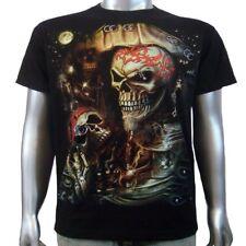 Pirate Salior Skull Ship 3D Silver Body Piercing Ink Tattoo Men T-shirt XL & XXL