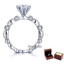 2 Carat Lab Created Diamond Vintage Engagement Ring Sterling 925 Silver Wedding