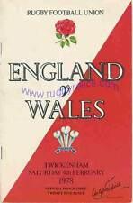 ENGLAND v WALES 1978 RUGBY PROGRAMME 4 FEBRUARY - TWICKENHAM GRAND SLAM WALES