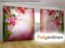 "Fotogardinen ""Orchidee"" Vorhang mit Motiv, 3D Fotodruck, Fotovorhang, auf Maß"