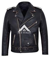 Men's Real Leather Jacket Brando Black Buff Distress Hide Ziper Biker Style MBF