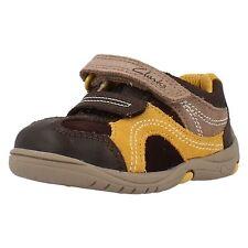 Clarks Ru Rocks Fst Marron Jaune Combi Cuirs Premières Chaussures E F G & H