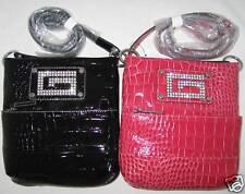GUESS Chastity Patent  Croco Rhinestones Messenger Bag Purse Sac New