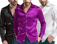 Hombre Símil Seda Satén Camisa top casual blusa manga larga fiesta club wear