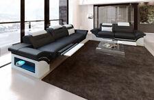 Sofagarnitur Echtleder modern MONZA 3er + 2er schwarz weiss LED Schlaffunktion