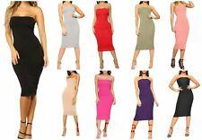 Ladies Boob Tube Plain Bandeau Strapless Stretch Pencil Long Bodycon Midi Dress