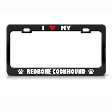 Redbone Coonhound Paw Love Heart Pet Dog Metal License Plate Frame Tag Holder