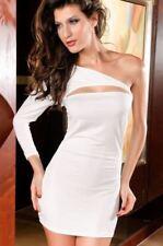 Ladies One Shoulder Mini Dress Sexy Decollete White