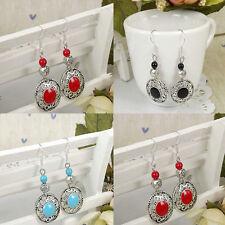 Vintage Elegant Ethnic Silver Multi-color Turquoise Beads Women Hook Earrings
