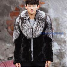 Men Big Fur Collar Jacket Winter Warm Fur Coat Outwear Parka Plus sz m0304