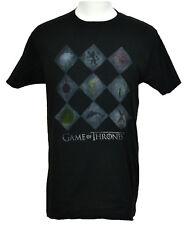 Game of Thones T-shirt House Sigils Diamonds Graphic Tee Black Cotton NWT