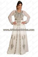 White DUBAI ABAYA KAFTAN Hijab Muslim Islam Wedding Dress *USA SELLER* MD0556