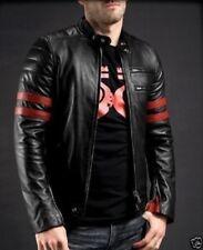 Noora New Men's Genuine Lambskin Leather Jacket Black Slim fit Motorcycle Biker