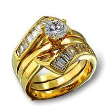 Diamond Alternatives Wedding Engagement Promise Ring 14k Yellow Gold Over Base