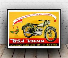 BSA Bantam , Old motor cycle advert ,   Poster, Wall art, Reproduction.