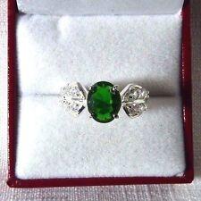 2.52ct Tsavorite Green & White Cubic Zirconia 925 Sterling Silver Classic Ring