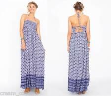 NEW Sugar Lips Bohemian Boho Blue Winding Road Maxi Halter Dress Size XS S M L