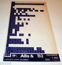 Microfich Ersatzteilkatalog Alfa Romeo Alfa 6 Modellj. 1983 Stand 07/1983