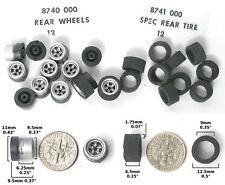 24 pc HO Slot Car Rear Wheels & Tires A+ 8740 8741 Aurora AFX Specialty 4-Gear