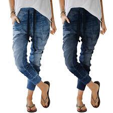 8c168a8dd25862 Damen Boyfriend Baggy Jeans Hüfthose Hüftjeans Jeanshose Haremhose  Jogginghose