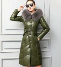M-5XL Women's Hooded Real Leather Duck Down Jacket Oversized Fox Fur Collar Belt