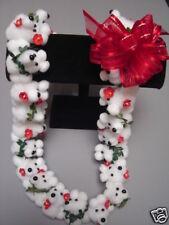 Hawaiian White Teddy Bear Pom Pom Lei Graduation Gift Maile Red Flower