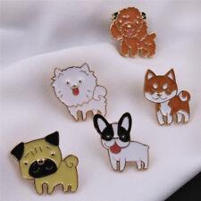 Mascota Bulldog Pug collar PIN insignia cute esmalte broche PIN mujer joyeríaHU