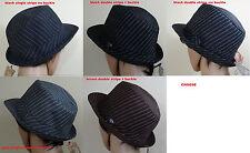 PUGS GEAR THE ROCK STAR Double/single stripe Trilby bucket FEDORA HAT,black,gray
