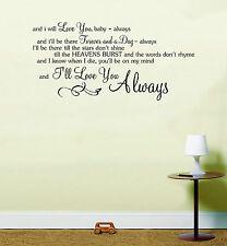 Bon Jovi siempre canción de música Letras Notas De Amor citar pegatina pared arte