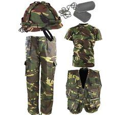 Ejército Niños Traje Niños Pantalones Dpm Casco Camiseta Chaleco Vestido Elegante y pintura de la cara