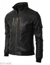 Custom Made Genuine Lambskin Leather Jacket Slim Fit Short Style Black Biker Rib
